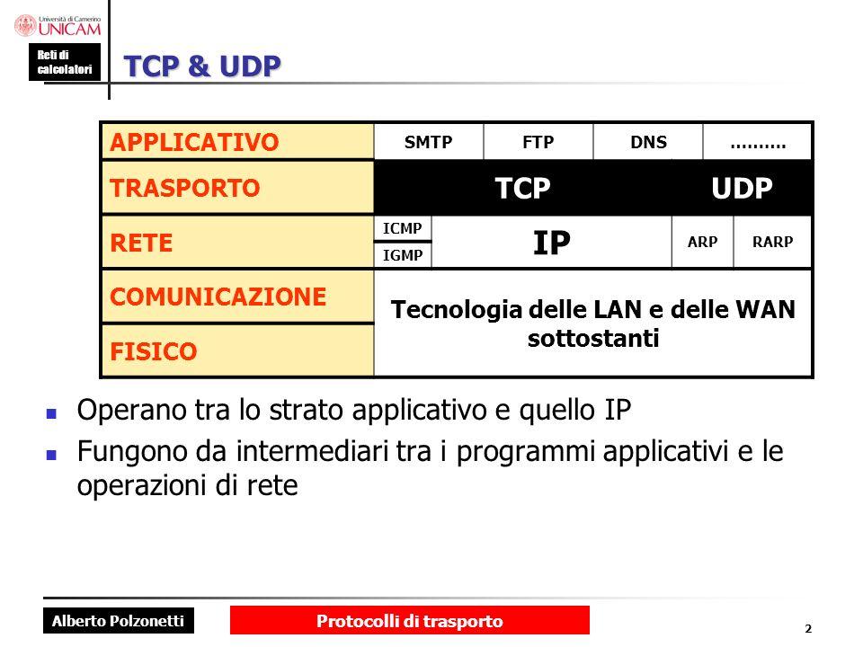 Tecnologia delle LAN e delle WAN sottostanti Protocolli di trasporto