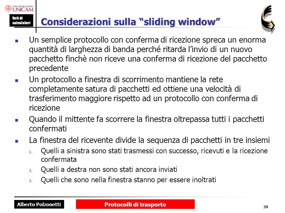 Considerazioni sulla sliding window