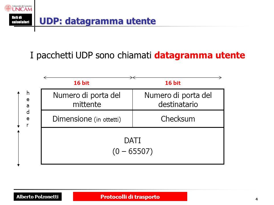 UDP: datagramma utente