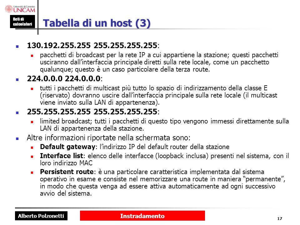 Tabella di un host (3) 130.192.255.255 255.255.255.255: