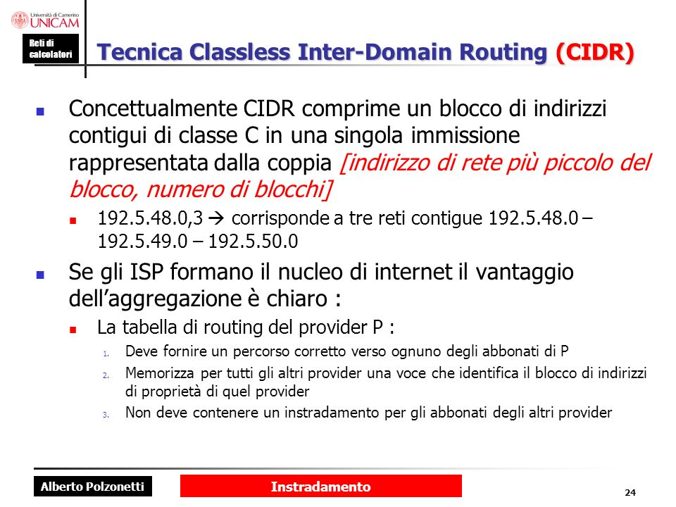 Tecnica Classless Inter-Domain Routing (CIDR)
