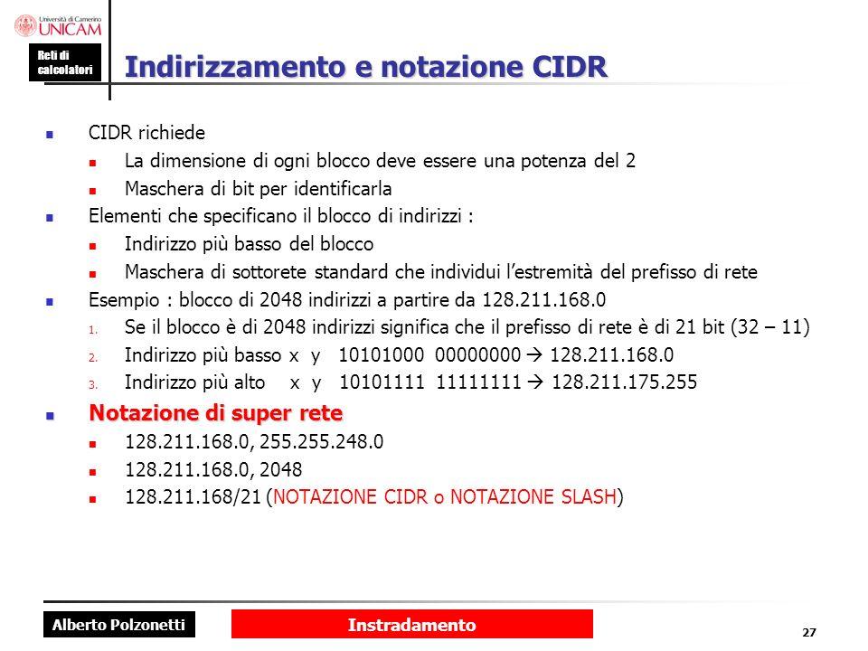 Indirizzamento e notazione CIDR