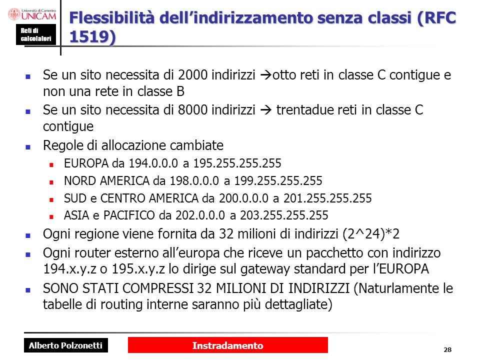 Flessibilità dell'indirizzamento senza classi (RFC 1519)