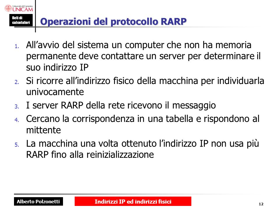 Operazioni del protocollo RARP
