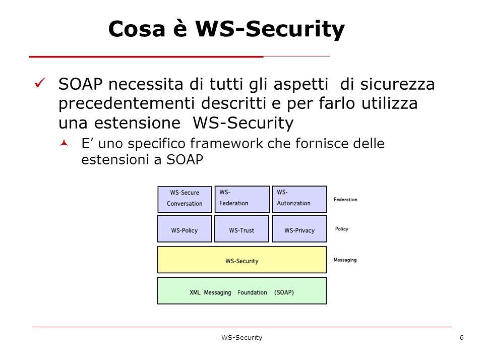 Cosa è WS-Security SOAP necessita di tutti gli aspetti di sicurezza precedentementi descritti e per farlo utilizza una estensione WS-Security.
