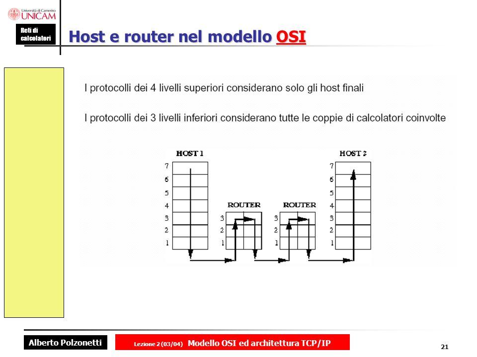 Host e router nel modello OSI