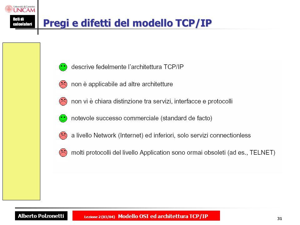 Pregi e difetti del modello TCP/IP