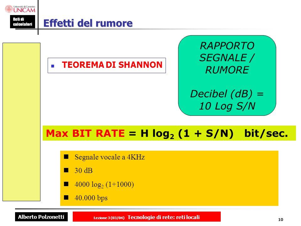 Lezione 3 (03/04) Tecnologie di rete: reti locali