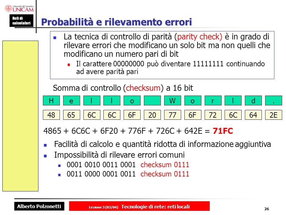 Probabilità e rilevamento errori