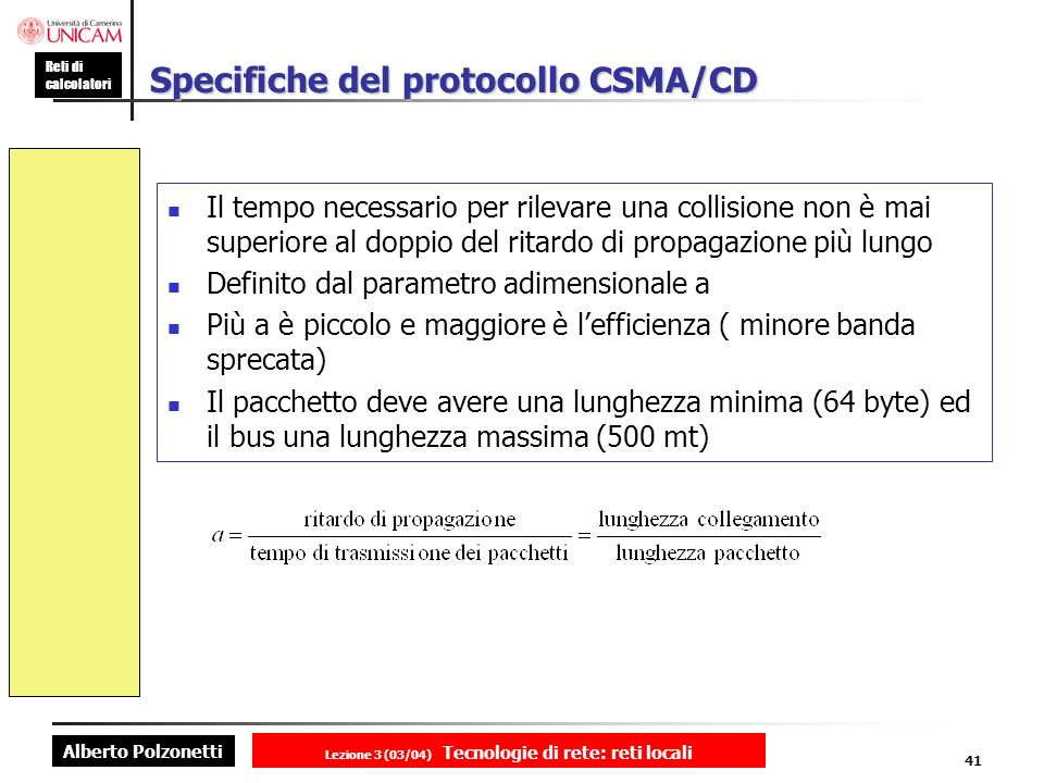 Specifiche del protocollo CSMA/CD