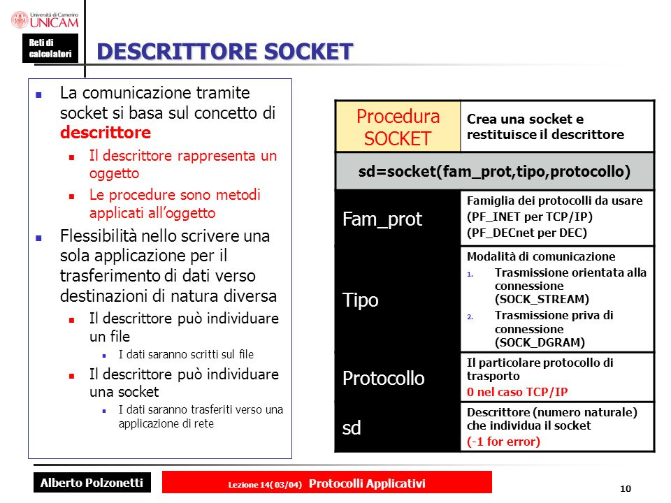 DESCRITTORE SOCKET Procedura SOCKET Fam_prot Tipo Protocollo sd