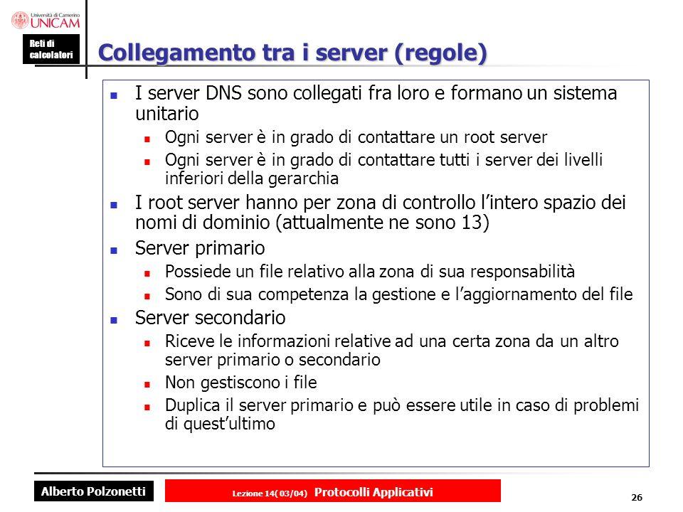 Collegamento tra i server (regole)