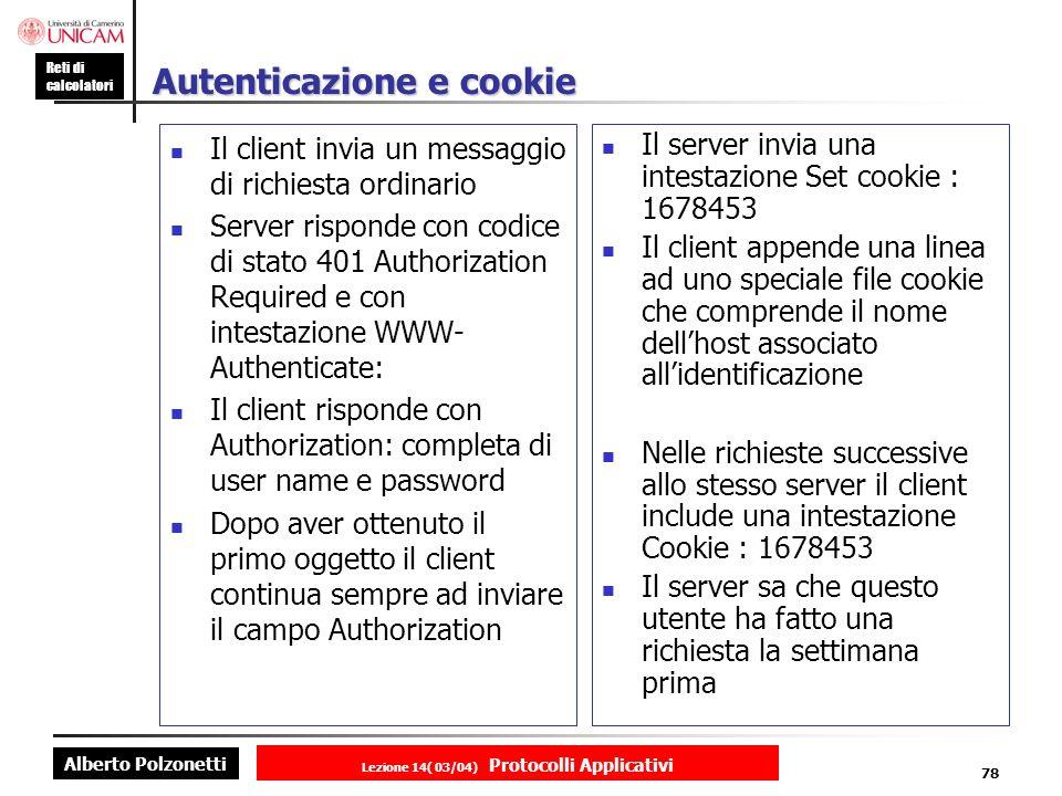 Autenticazione e cookie