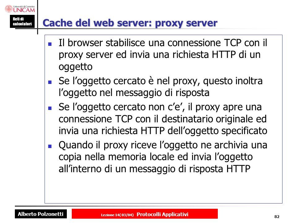 Cache del web server: proxy server
