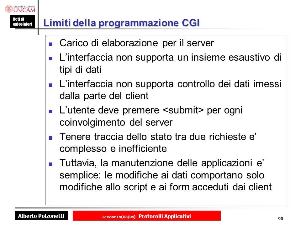 Limiti della programmazione CGI