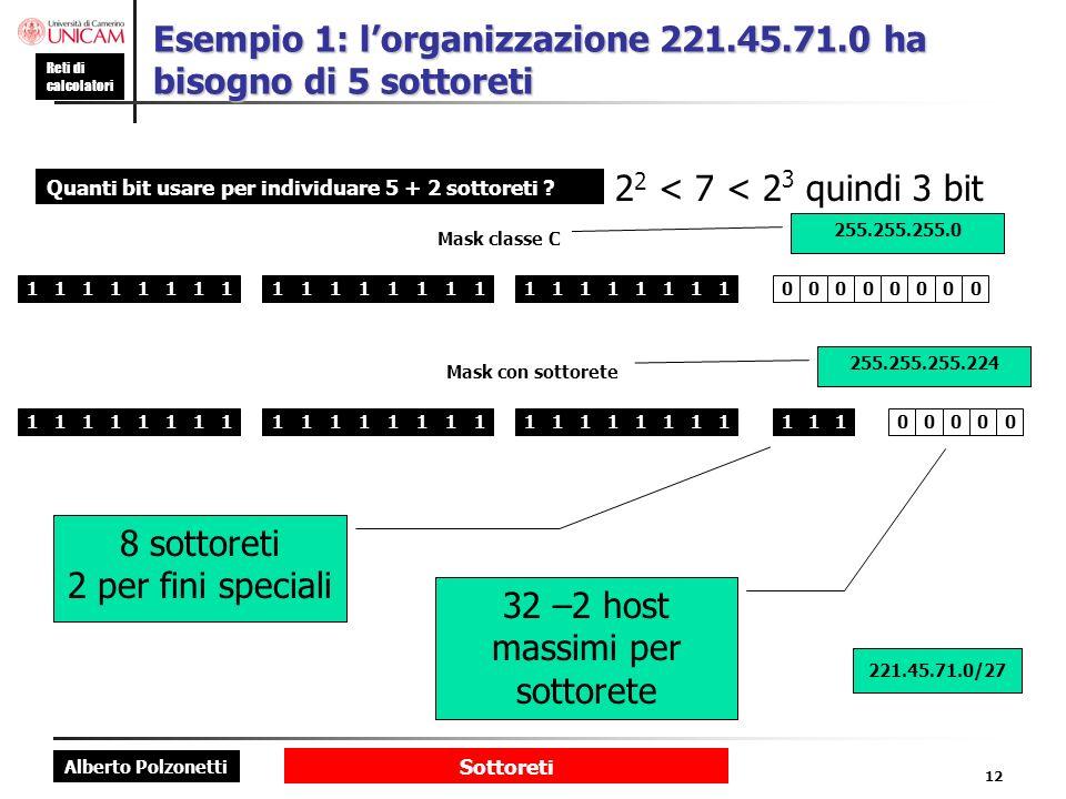 Esempio 1: l'organizzazione 221.45.71.0 ha bisogno di 5 sottoreti