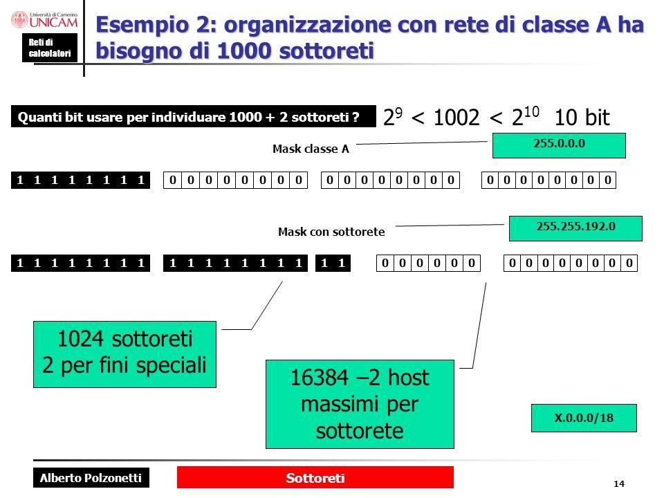 16384 –2 host massimi per sottorete