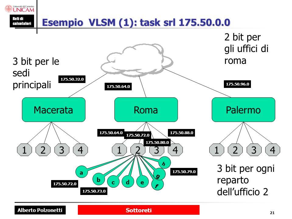 Esempio VLSM (1): task srl 175.50.0.0