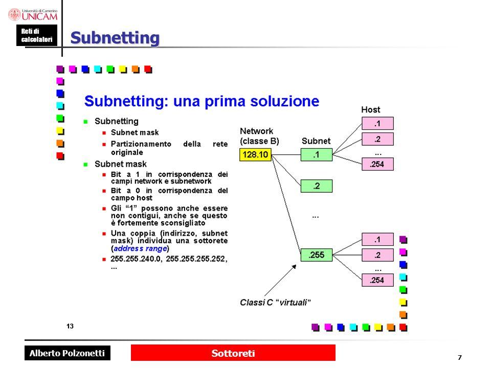 Subnetting Subnetting (RFC 917, RFC 950): una prima soluzione.