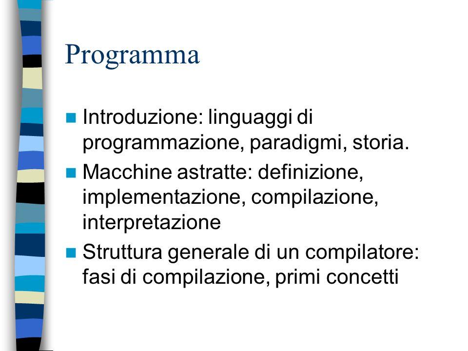 Programma Introduzione: linguaggi di programmazione, paradigmi, storia.
