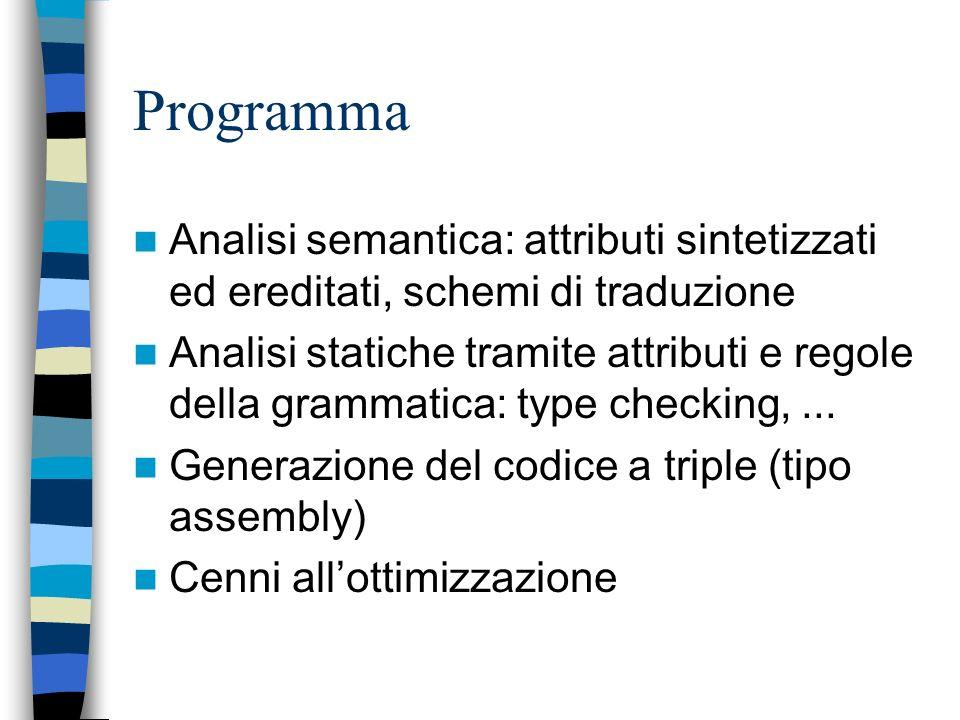 Programma Analisi semantica: attributi sintetizzati ed ereditati, schemi di traduzione.