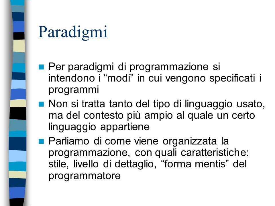 Paradigmi Per paradigmi di programmazione si intendono i modi in cui vengono specificati i programmi.