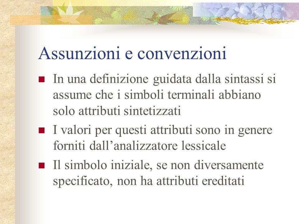 Assunzioni e convenzioni