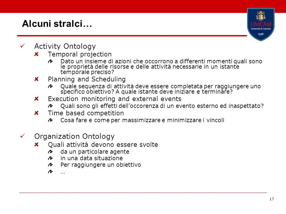 Alcuni stralci… Activity Ontology Organization Ontology