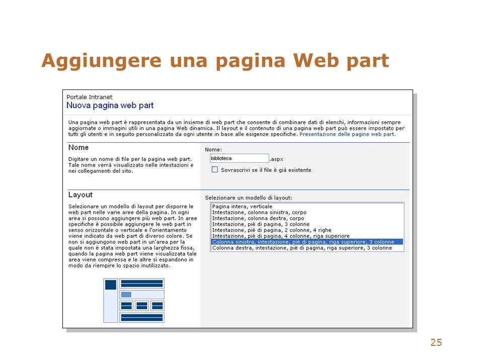 Aggiungere una pagina Web part