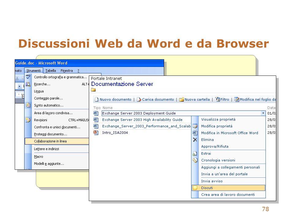 Discussioni Web da Word e da Browser
