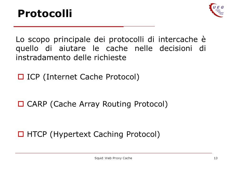 Protocolli Lo scopo principale dei protocolli di intercache è quello di aiutare le cache nelle decisioni di instradamento delle richieste.