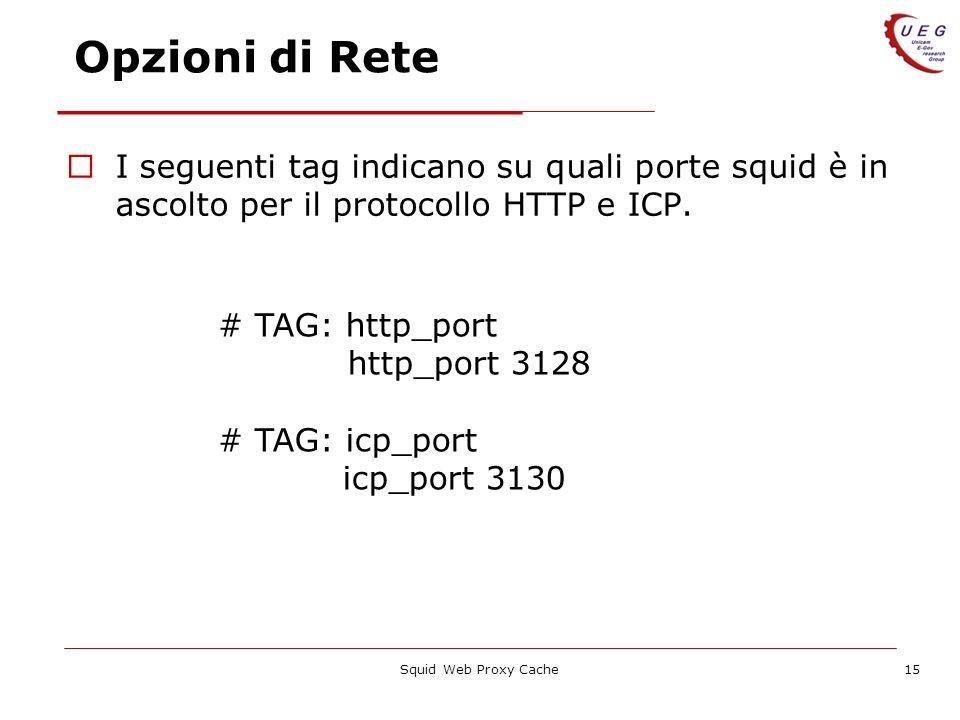 Opzioni di Rete I seguenti tag indicano su quali porte squid è in ascolto per il protocollo HTTP e ICP.