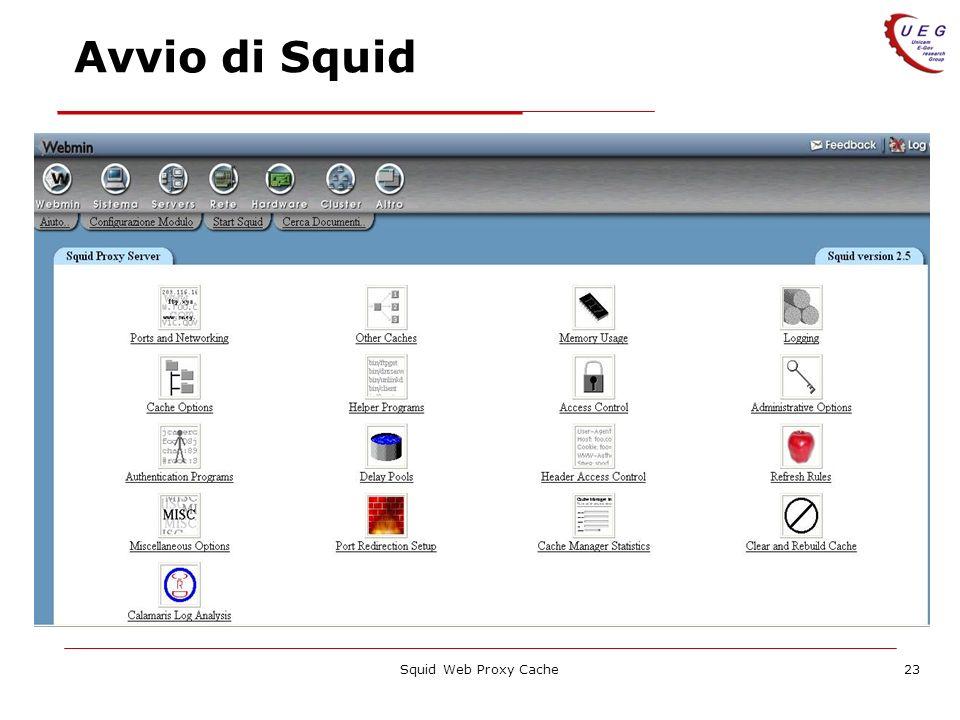 Avvio di Squid Squid Web Proxy Cache