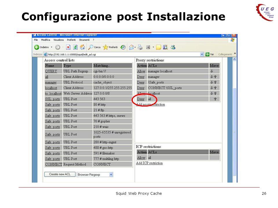 Configurazione post Installazione