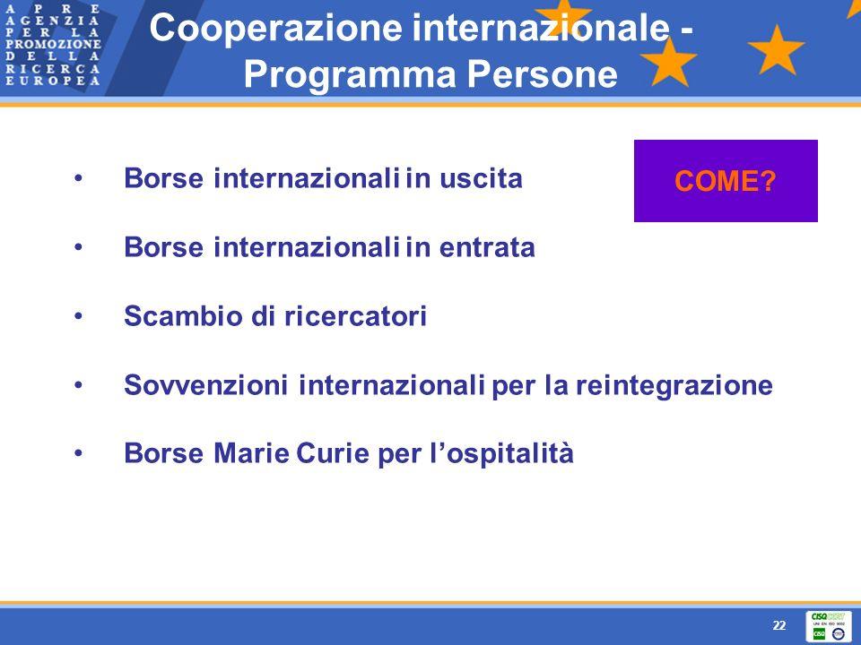 Cooperazione internazionale - Programma Persone