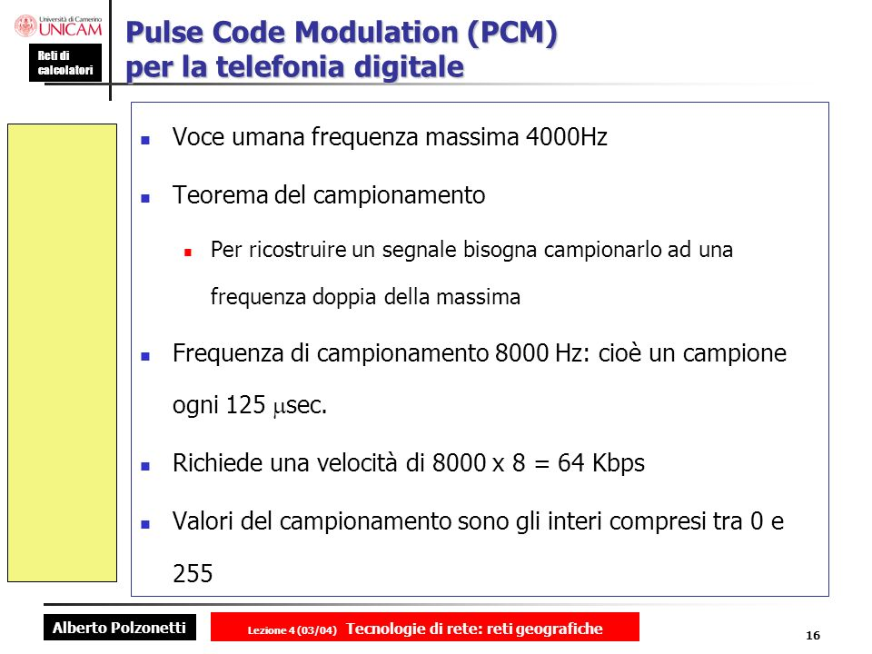 Pulse Code Modulation (PCM) per la telefonia digitale