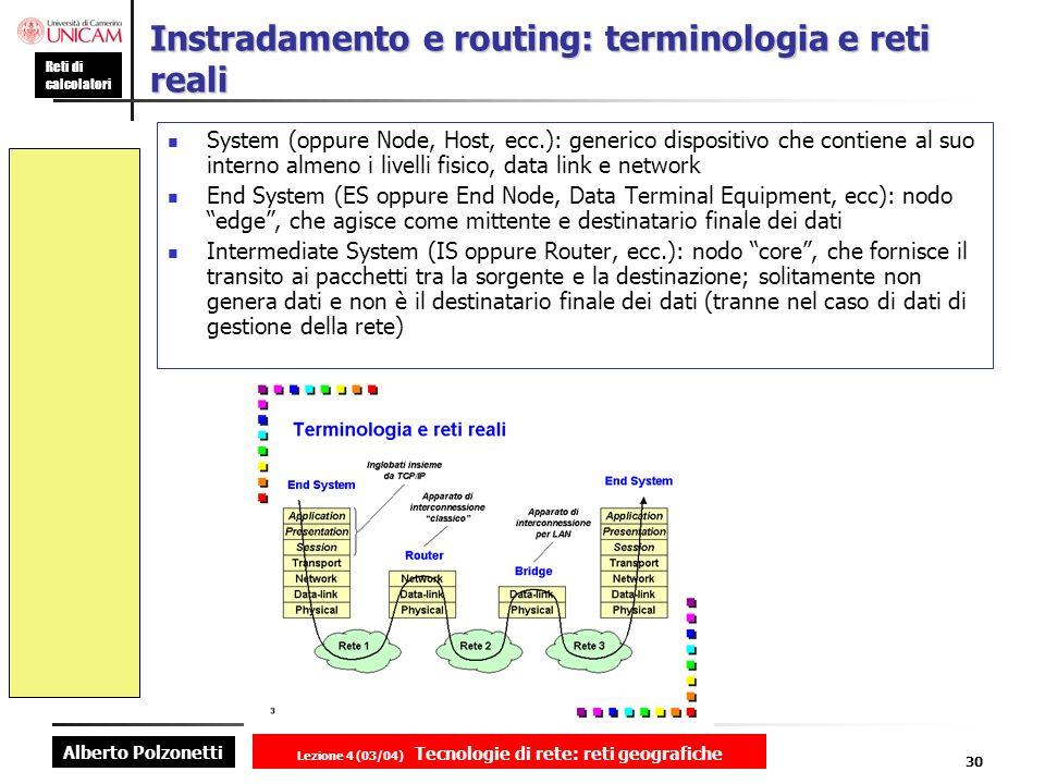 Instradamento e routing: terminologia e reti reali