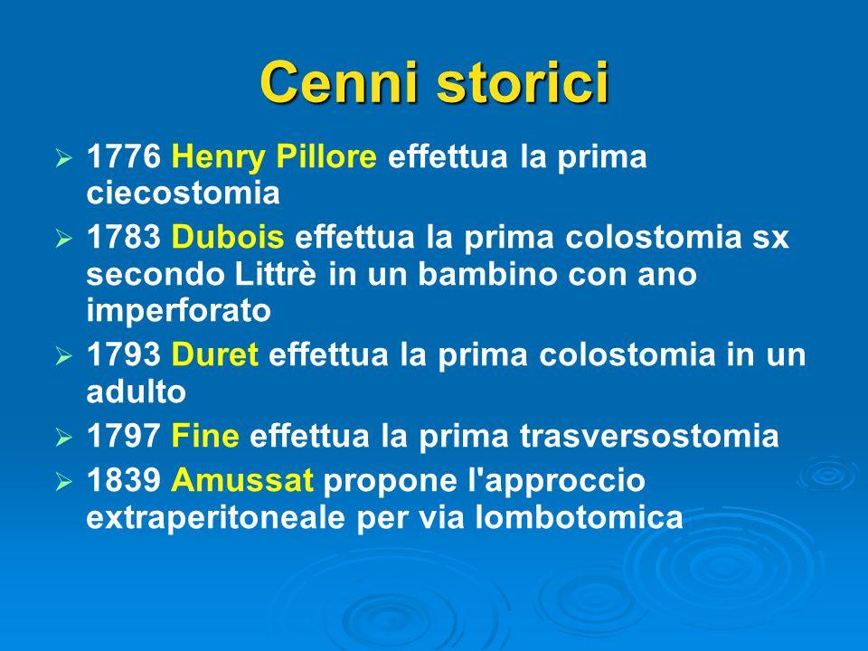 Cenni storici 1776 Henry Pillore effettua la prima ciecostomia