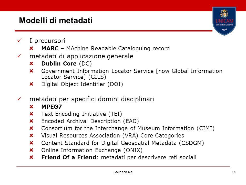Modelli di metadati I precursori metadati di applicazione generale