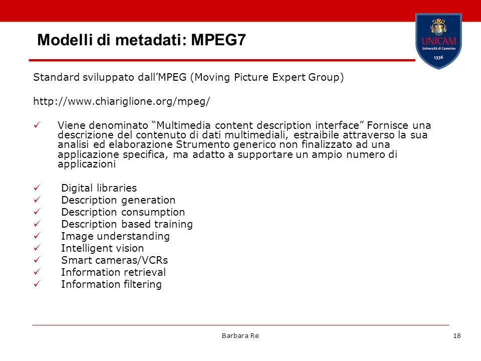Modelli di metadati: MPEG7