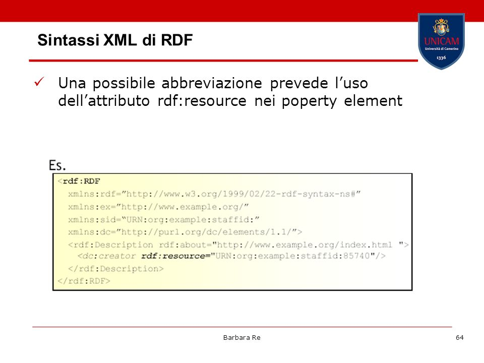 Sintassi XML di RDF Una possibile abbreviazione prevede l'uso dell'attributo rdf:resource nei poperty element.