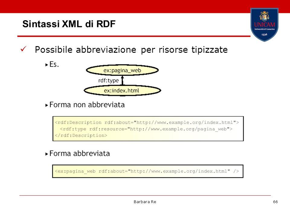 Sintassi XML di RDF Possibile abbreviazione per risorse tipizzate