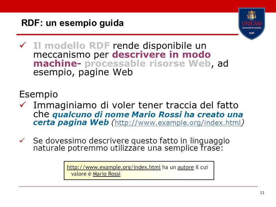 RDF: un esempio guida Il modello RDF rende disponibile un meccanismo per descrivere in modo machine- processable risorse Web, ad esempio, pagine Web.