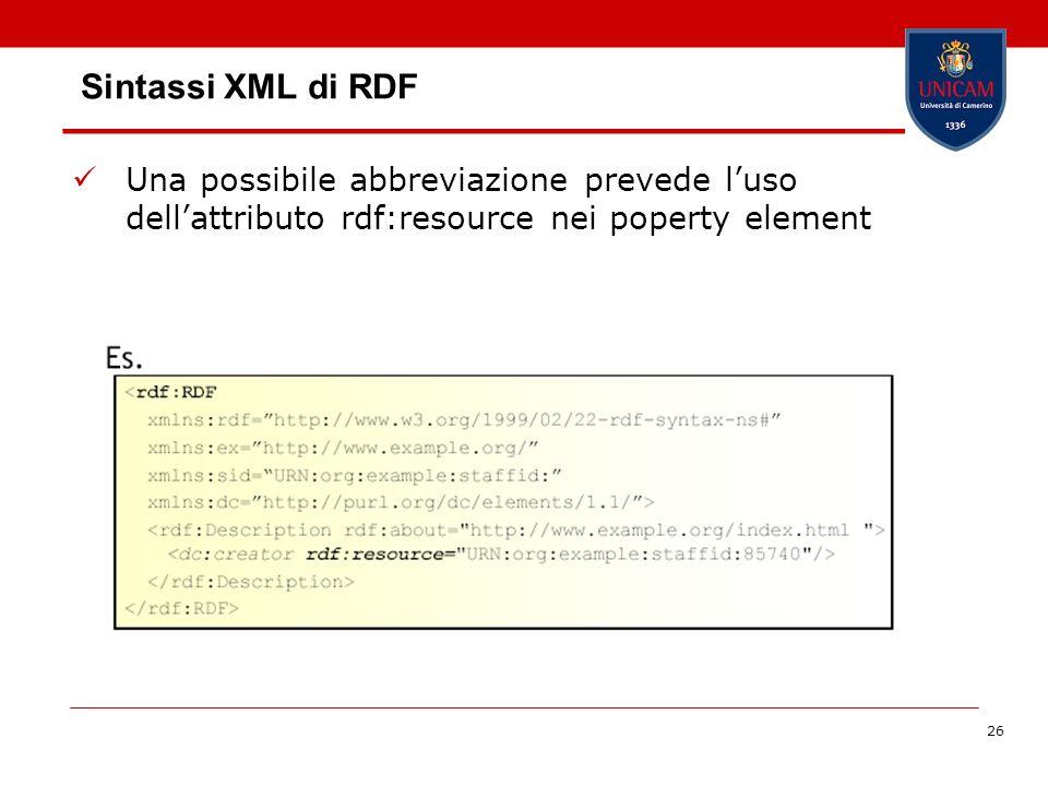 Sintassi XML di RDF Una possibile abbreviazione prevede l'uso dell'attributo rdf:resource nei poperty element.