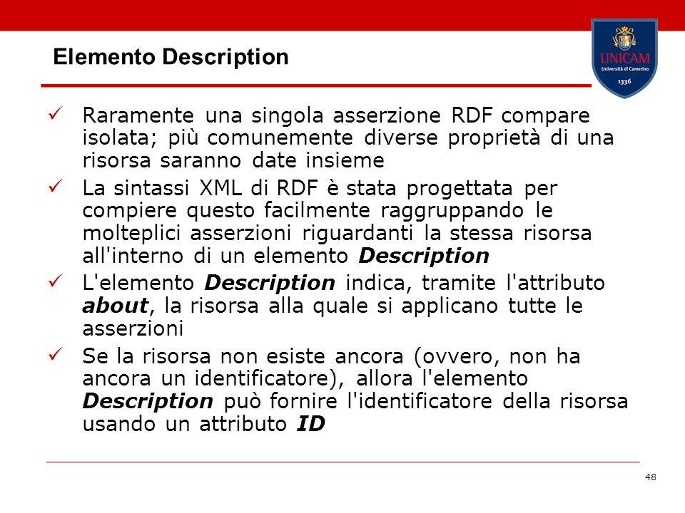 Elemento Description Raramente una singola asserzione RDF compare isolata; più comunemente diverse proprietà di una risorsa saranno date insieme.
