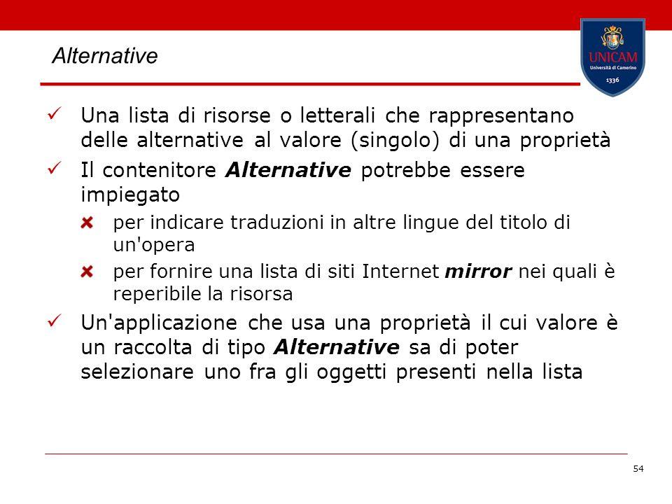 Alternative Una lista di risorse o letterali che rappresentano delle alternative al valore (singolo) di una proprietà.
