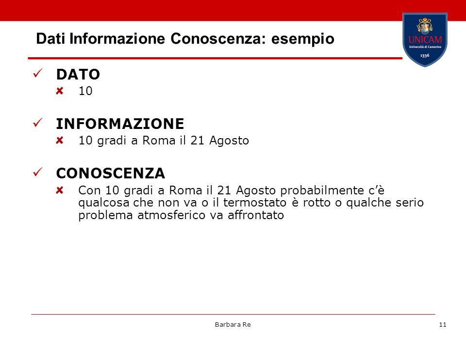 Dati Informazione Conoscenza: esempio