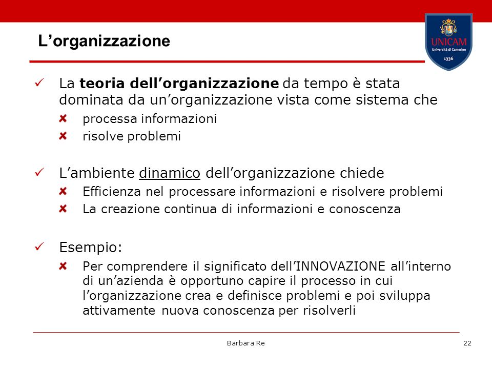 L'organizzazione La teoria dell'organizzazione da tempo è stata dominata da un'organizzazione vista come sistema che.