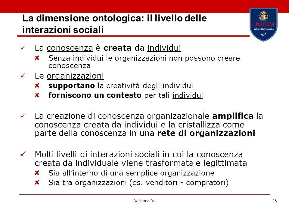 La dimensione ontologica: il livello delle interazioni sociali