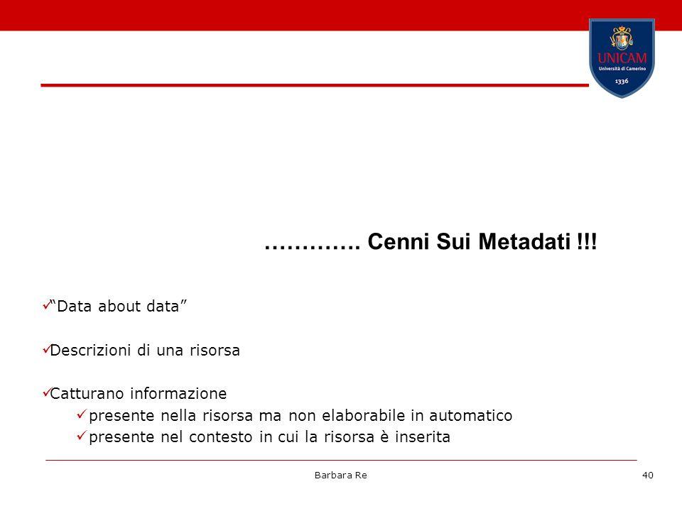 …………. Cenni Sui Metadati !!!